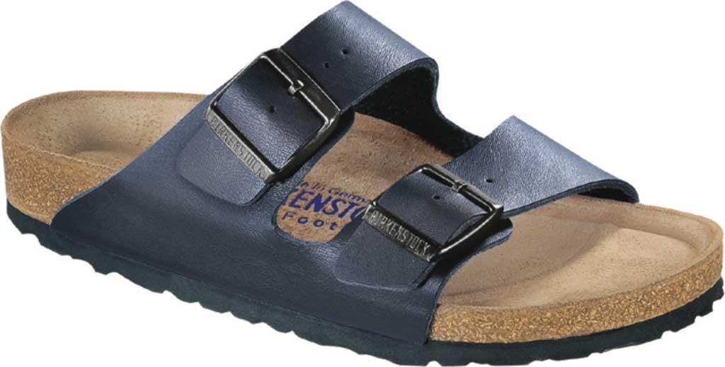 Men's Birkenstock Arizona Suede Soft Footbed Two Strap Slide, Navy Suede, large, image 1