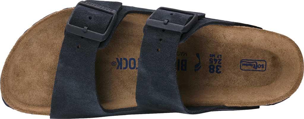 Men's Birkenstock Arizona Suede Soft Footbed Two Strap Slide, Navy Suede, large, image 3
