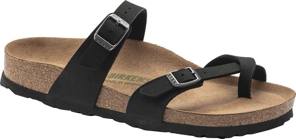 Women's Birkenstock Mayari Vegan Toe Loop Sandal, Black Birkibuc, large, image 1