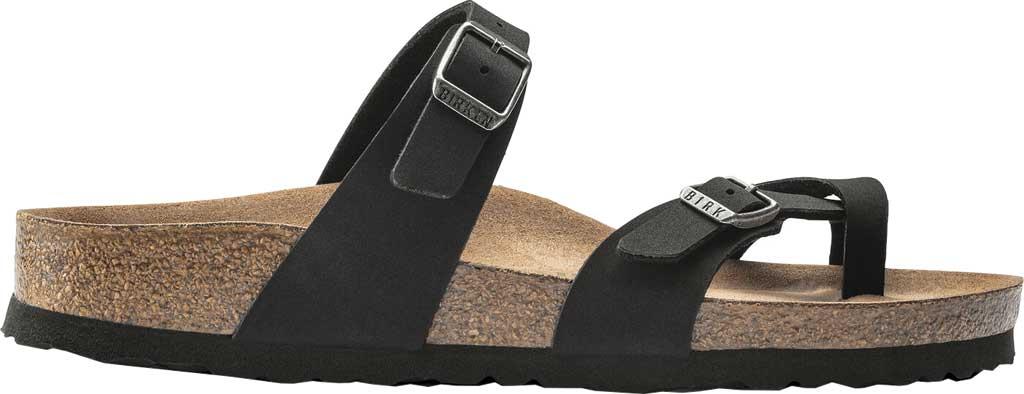 Women's Birkenstock Mayari Vegan Toe Loop Sandal, Black Birkibuc, large, image 2