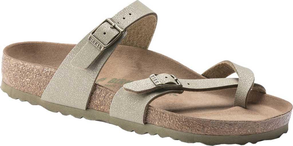 Women's Birkenstock Mayari Vegan Toe Loop Sandal, Faded Khaki Birkibuc, large, image 1