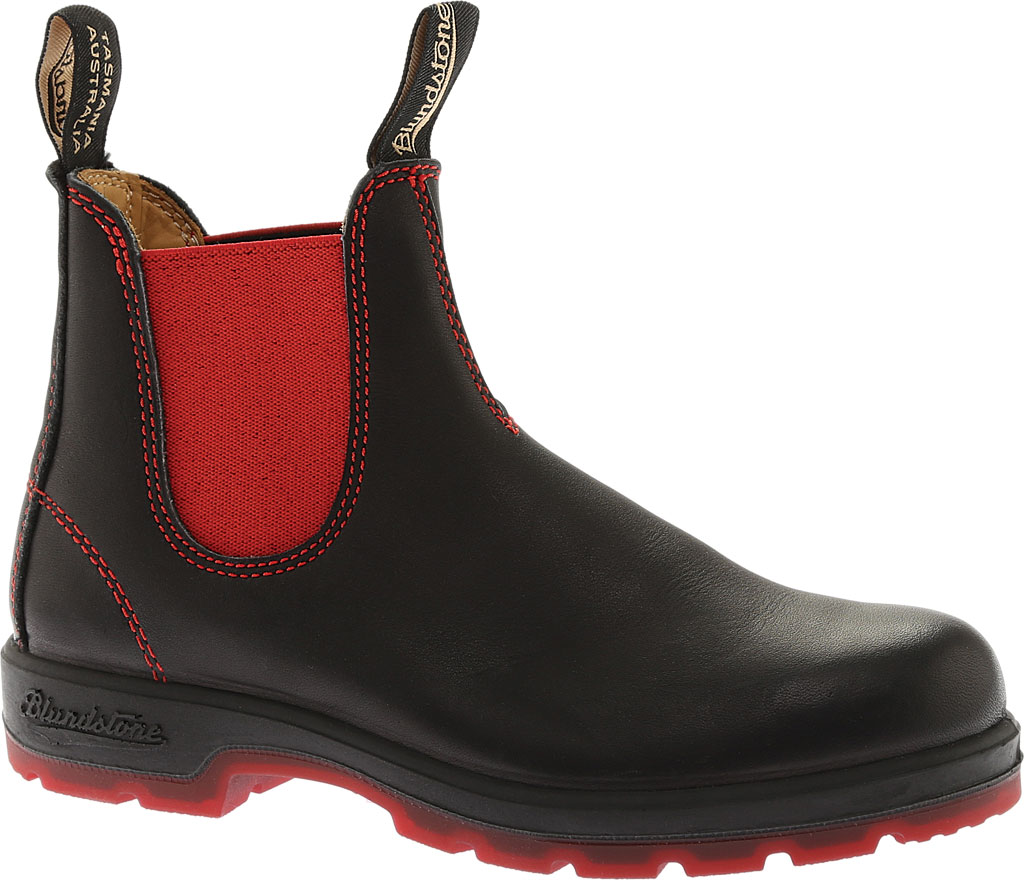 Blundstone Super 550 Series Boot, Black/Red Gore/Red Sole, large, image 1