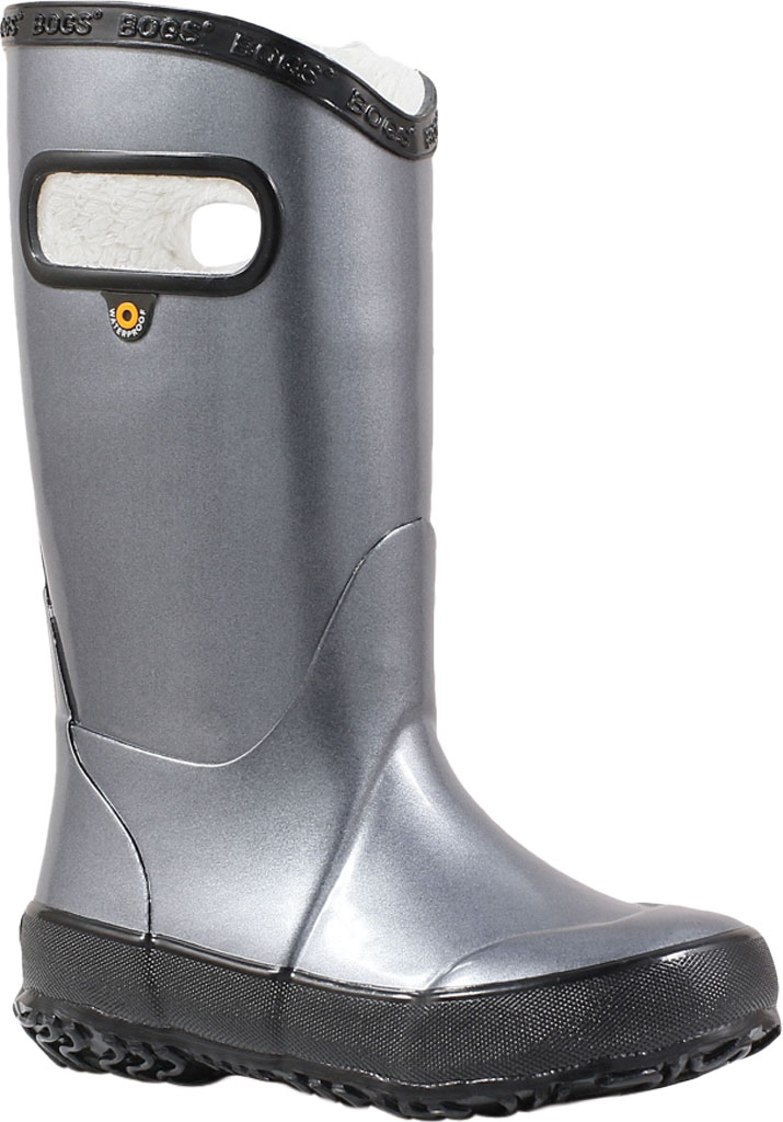 Children's Bogs Rain Boot, Steel Metallic Rubber, large, image 1