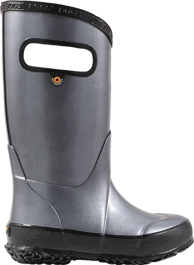 Children's Bogs Rain Boot, Steel Metallic Rubber, large, image 2