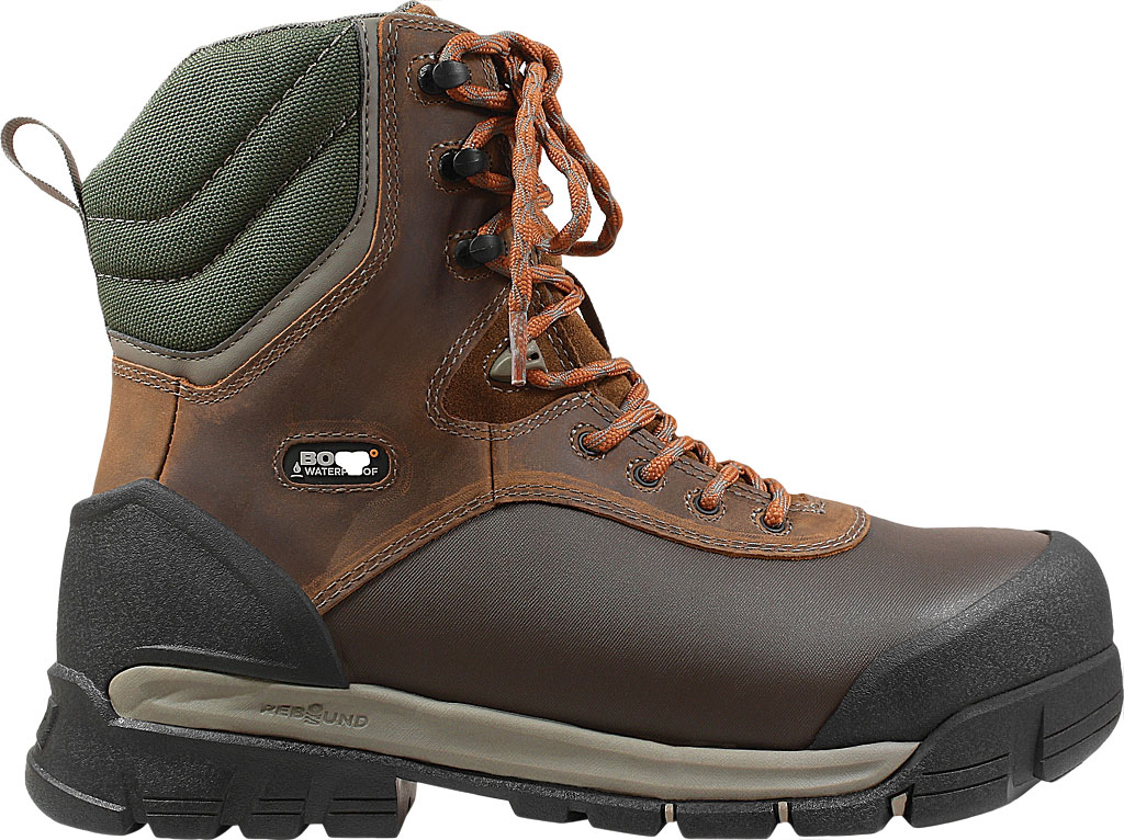 "Men's Bogs Bedrock 8"" Composite Toe Work Boot, Brown Multi Leather/Textile, large, image 2"