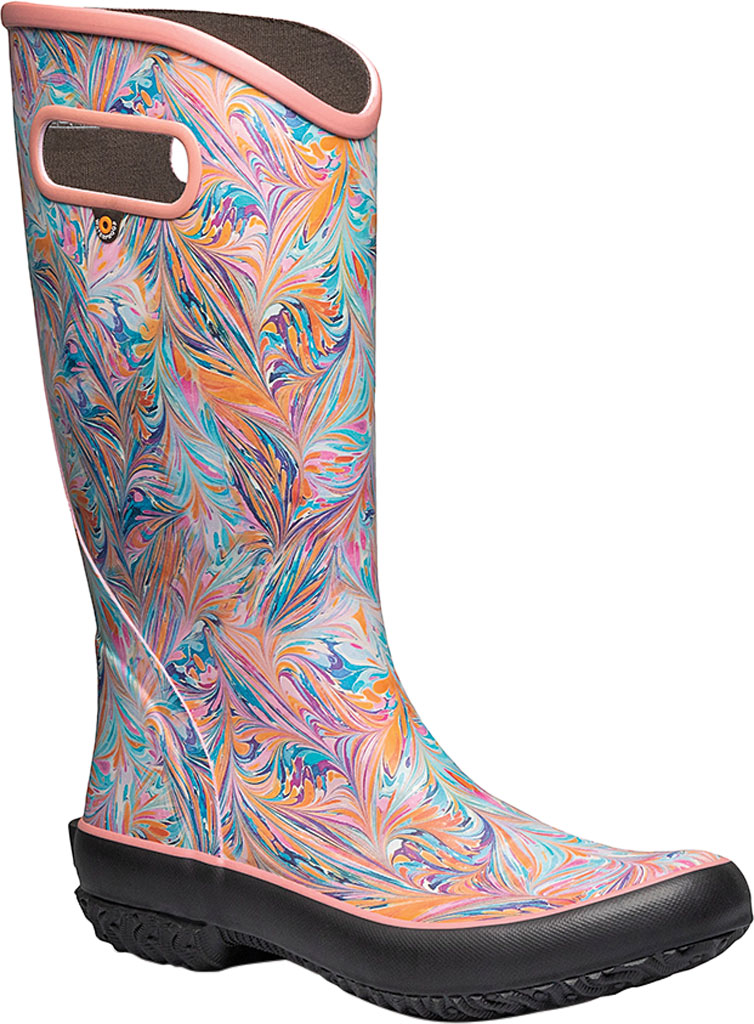 Women's Bogs Classic Rubber Rainboot, Coral Marble Rubber, large, image 1