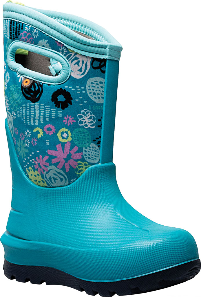 Children's Bogs Neo-Classic Pull On Winter Boot, Teal Multi Butterflies Rubber/Nylon, large, image 1