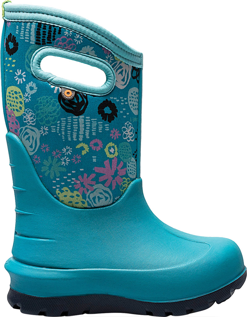 Children's Bogs Neo-Classic Pull On Winter Boot, Teal Multi Butterflies Rubber/Nylon, large, image 2