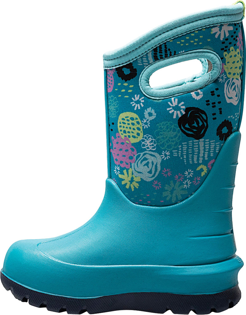 Children's Bogs Neo-Classic Pull On Winter Boot, Teal Multi Butterflies Rubber/Nylon, large, image 3