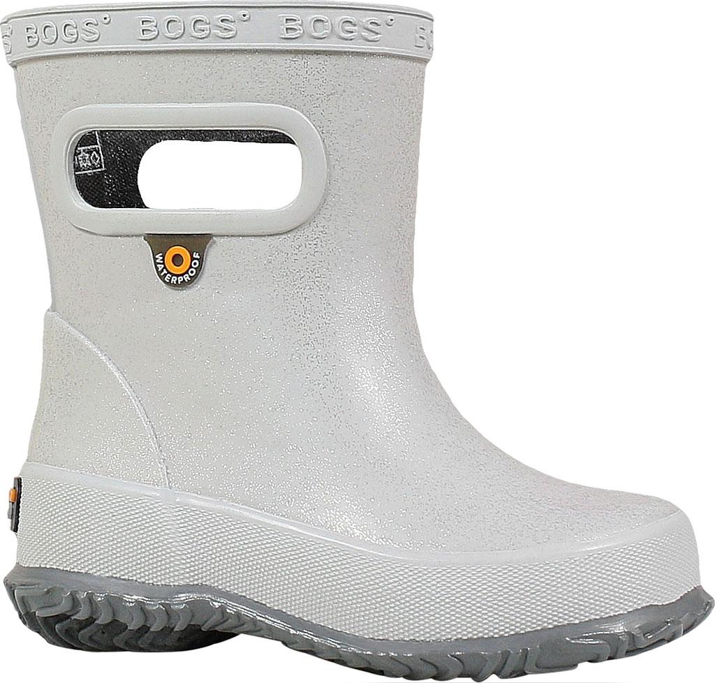 Infant Bogs Skipper Glitter Rain Boot, Silver Rubber, large, image 1