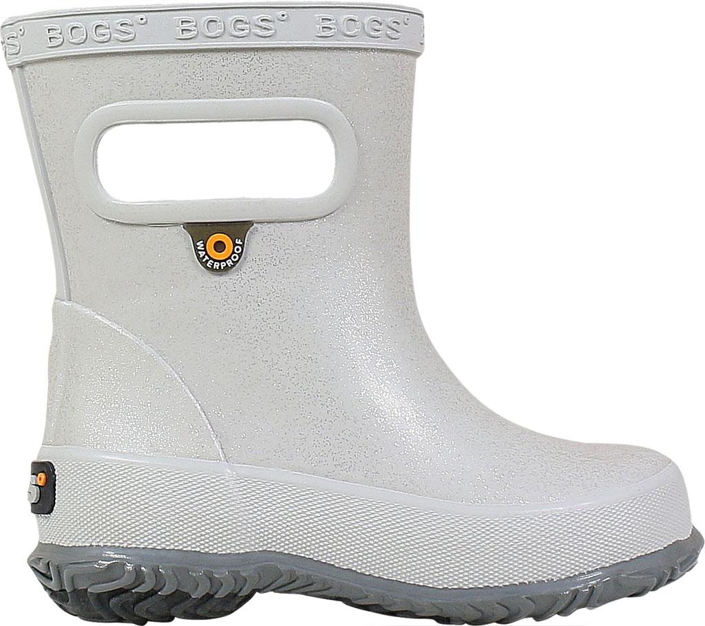 Infant Bogs Skipper Glitter Rain Boot, Silver Rubber, large, image 2