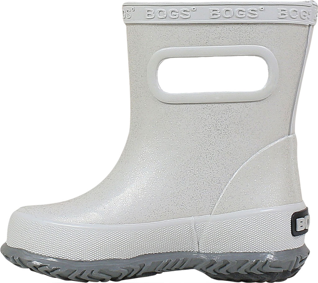 Infant Bogs Skipper Glitter Rain Boot, Silver Rubber, large, image 3