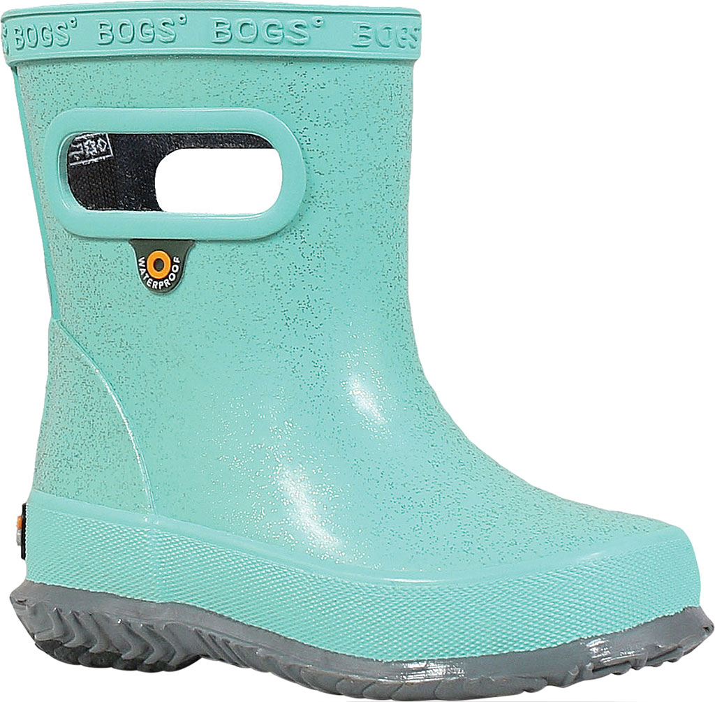 Infant Bogs Skipper Glitter Rain Boot, Turquoise Rubber, large, image 1