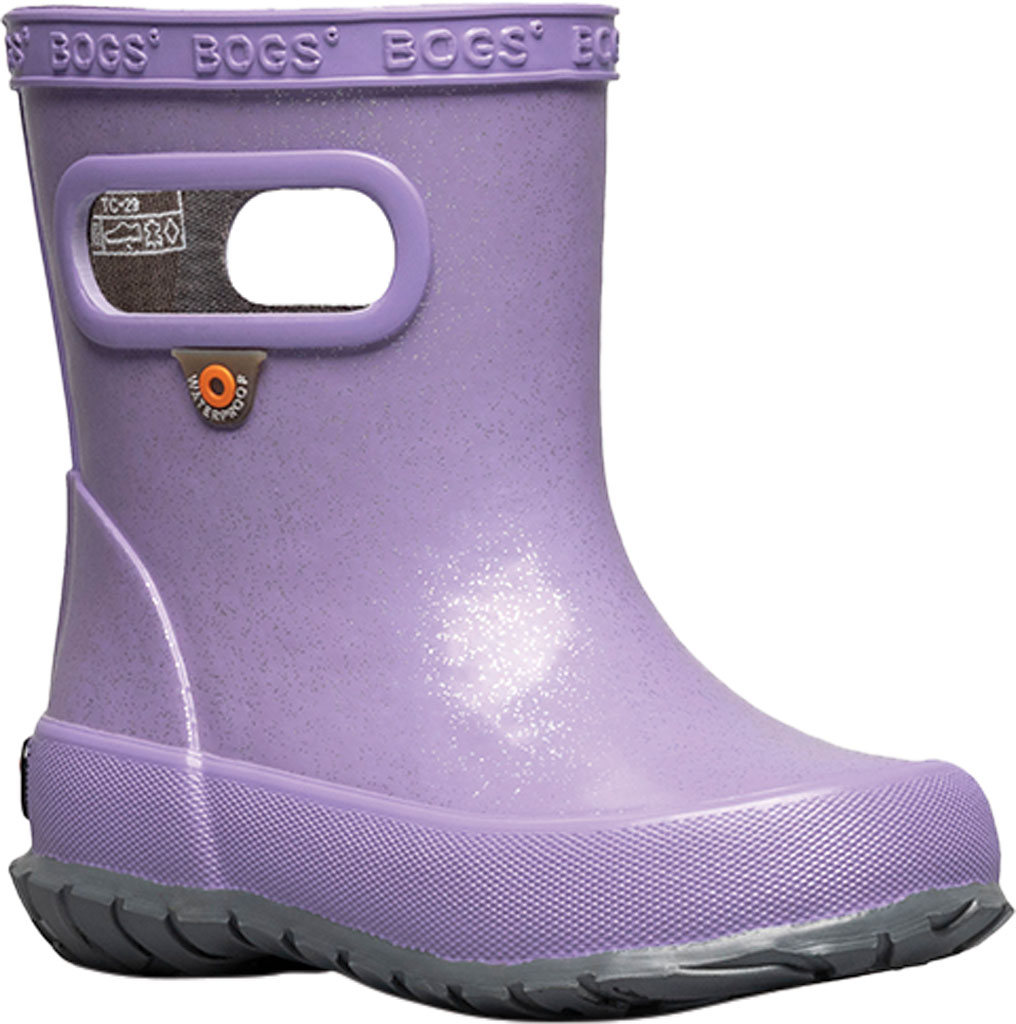 Infant Bogs Skipper Glitter Rain Boot, Lilac Glitter Rubber, large, image 1