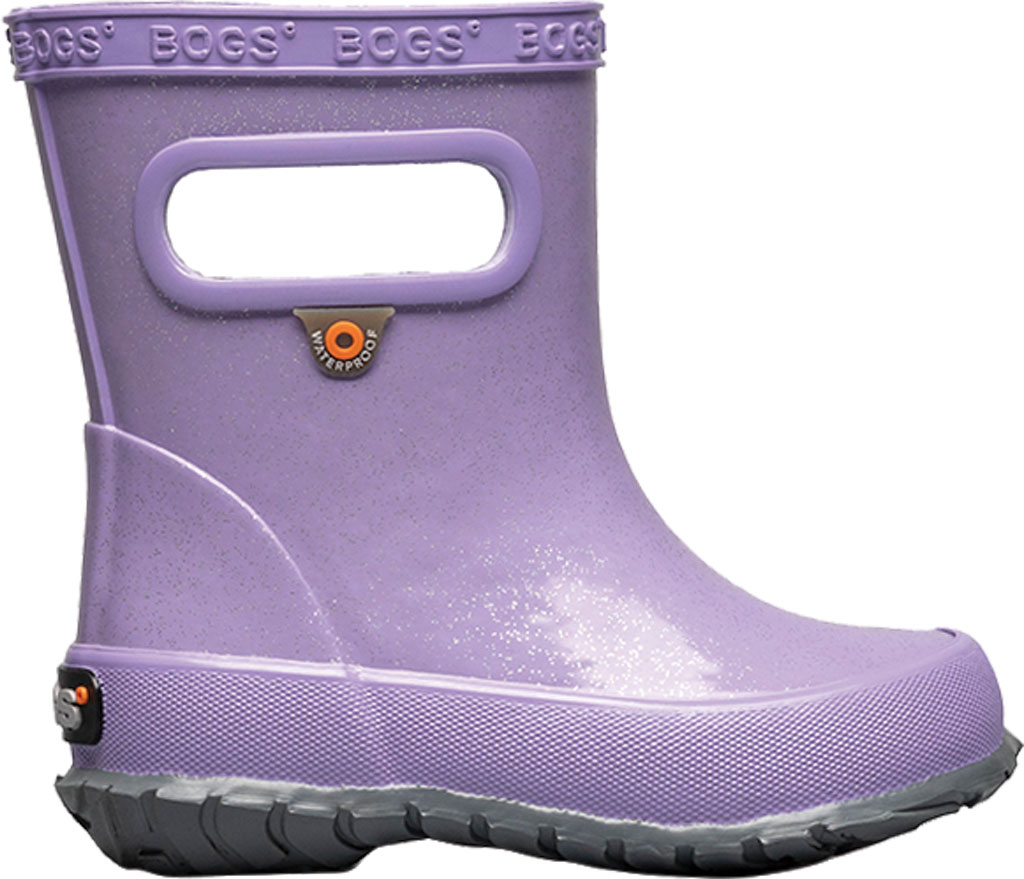 Infant Bogs Skipper Glitter Rain Boot, Lilac Glitter Rubber, large, image 2