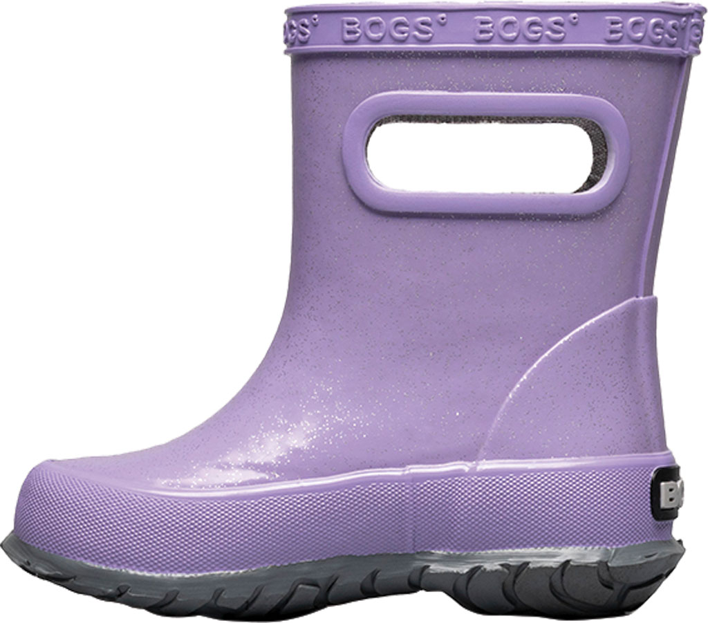 Infant Bogs Skipper Glitter Rain Boot, Lilac Glitter Rubber, large, image 3