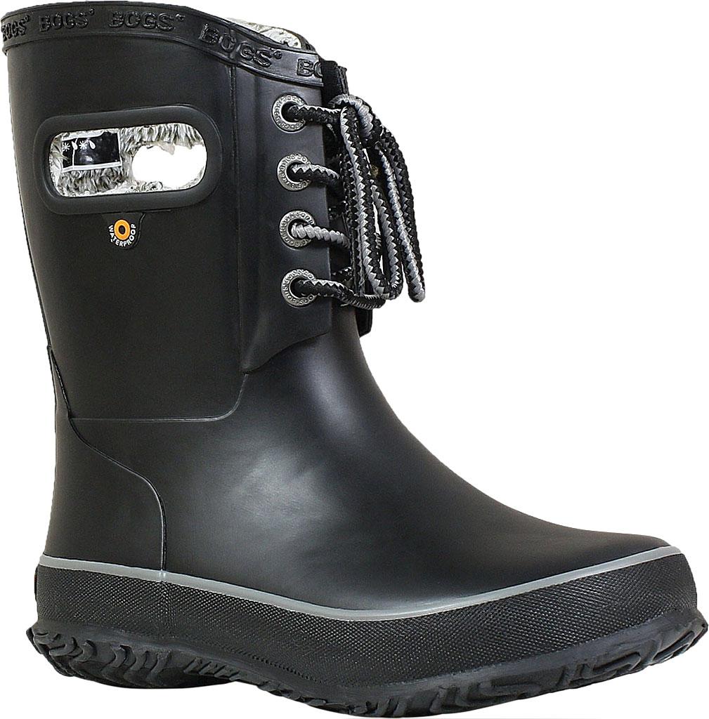 Children's Bogs Amanda Plush Lace Up Waterproof Boot, Black Rubber, large, image 1