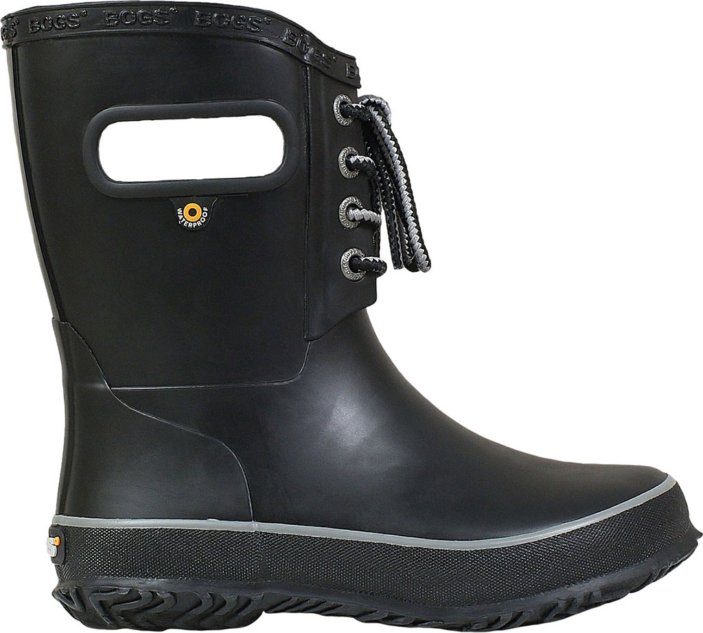 Children's Bogs Amanda Plush Lace Up Waterproof Boot, Black Rubber, large, image 2