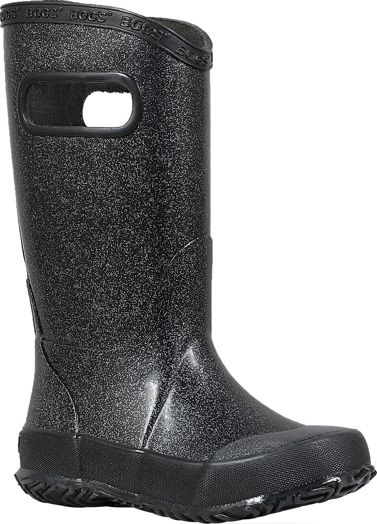 Children's Bogs Glitter Rain Boot, Black Rubber/Nylon Jersey, large, image 1