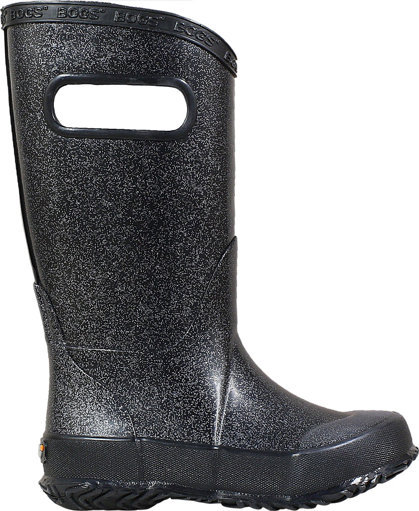 Children's Bogs Glitter Rain Boot, Black Rubber/Nylon Jersey, large, image 2