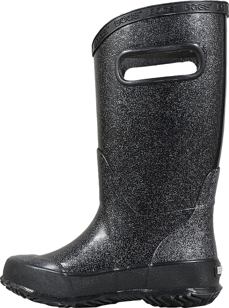 Children's Bogs Glitter Rain Boot, Black Rubber/Nylon Jersey, large, image 3