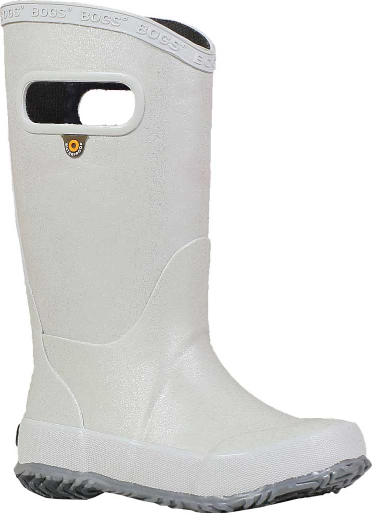 Children's Bogs Glitter Rain Boot, Silver Rubber/Nylon Jersey, large, image 1
