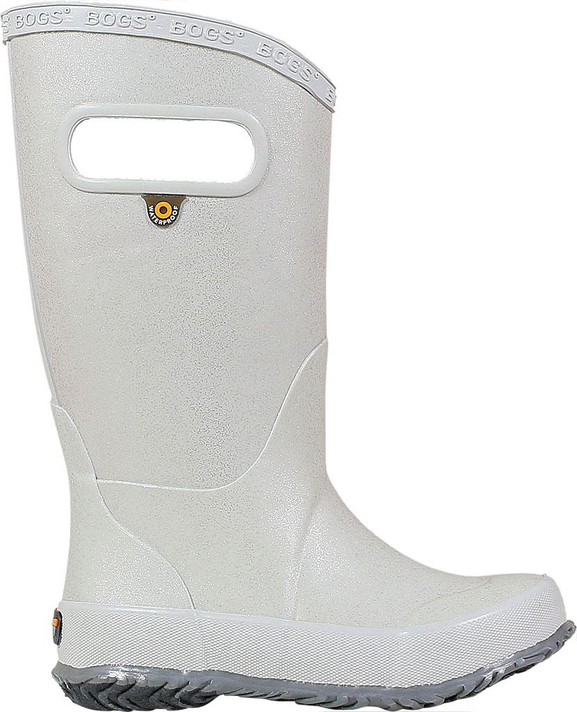 Children's Bogs Glitter Rain Boot, Silver Rubber/Nylon Jersey, large, image 2
