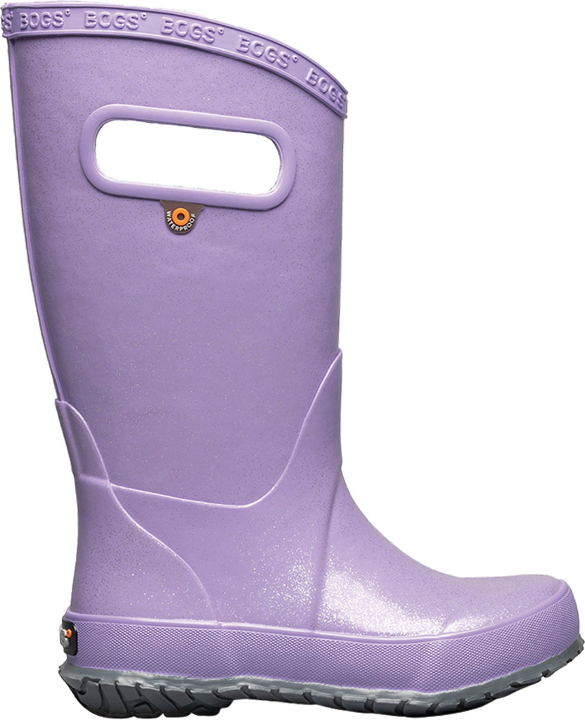 Children's Bogs Glitter Rain Boot, Lilac Glitter Rubber, large, image 2