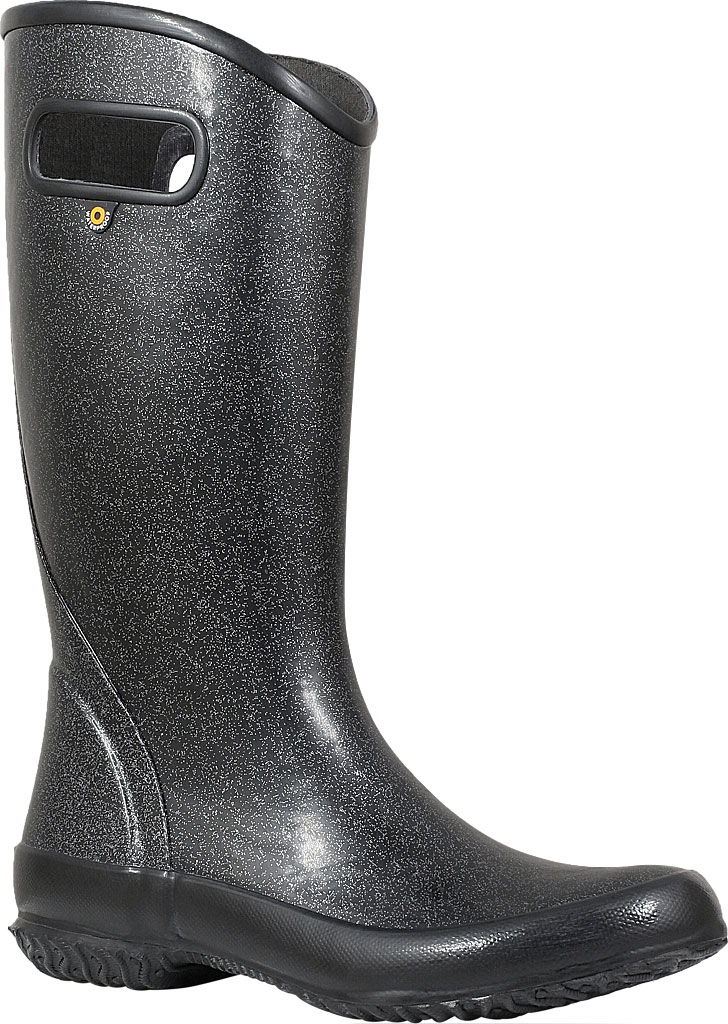 Women's Bogs Glitter Rain Boot, Black Rubber/Nylon Jersey, large, image 1