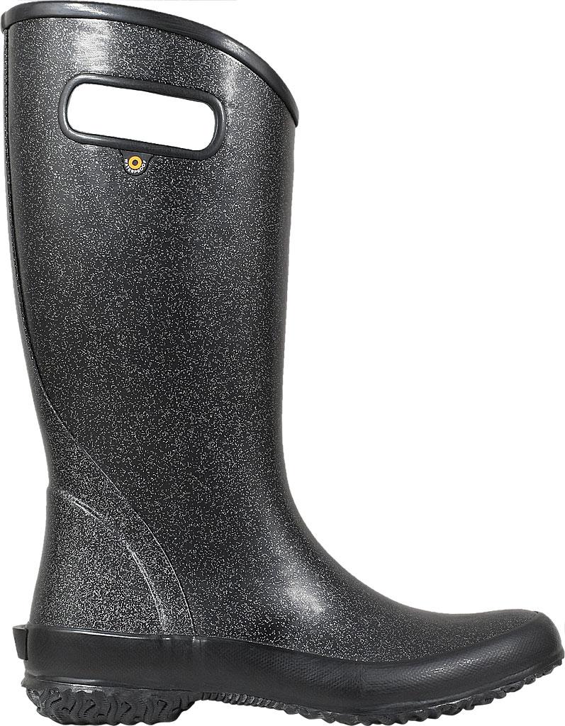 Women's Bogs Glitter Rain Boot, Black Rubber/Nylon Jersey, large, image 2