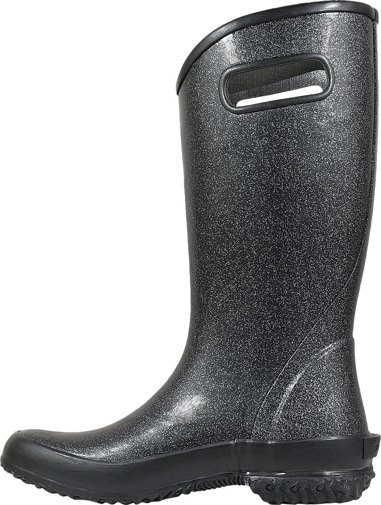 Women's Bogs Glitter Rain Boot, Black Rubber/Nylon Jersey, large, image 3