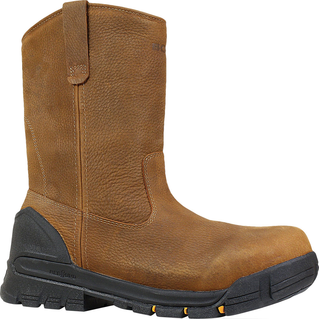 Men's Bogs Bedrock Wellington Soft Toe Work Boot, Brown Leather, large, image 1
