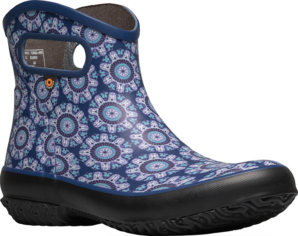 Women's Bogs Patch Waterproof Ankle Bootie, Blue Multi/Juned (Roots Studio) Rubber, large, image 1