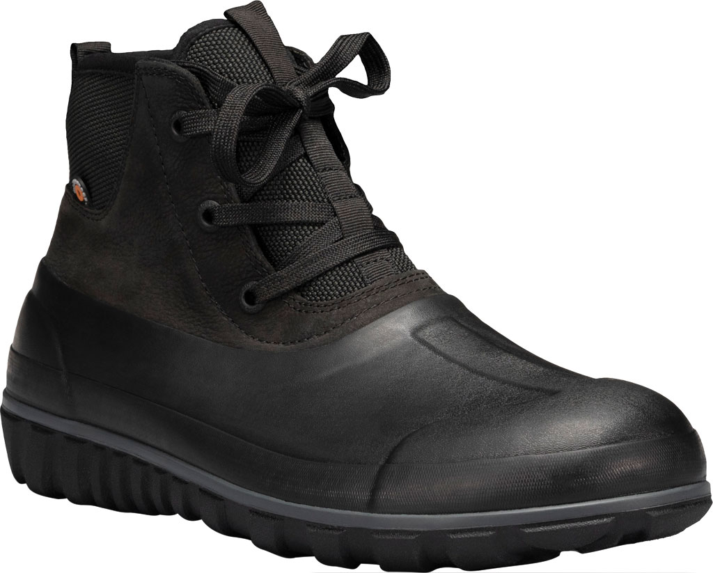 Men's Bogs Classic Casual Lace Waterproof Duck Boot, Black Rubber/Leather, large, image 1