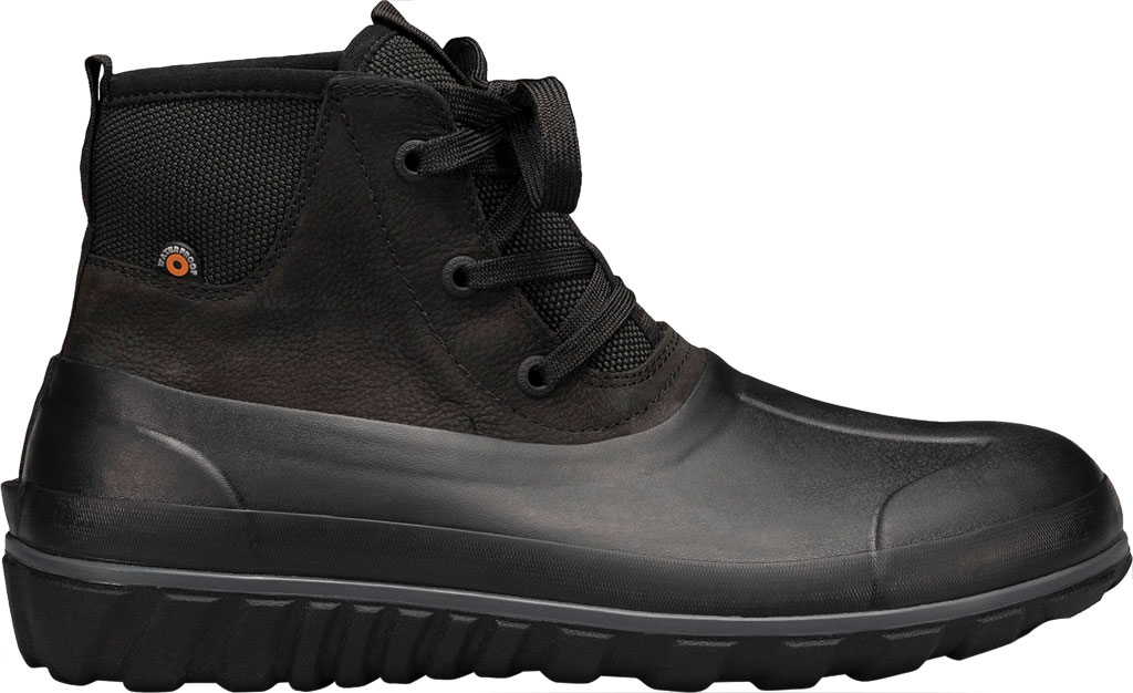Men's Bogs Classic Casual Lace Waterproof Duck Boot, Black Rubber/Leather, large, image 2