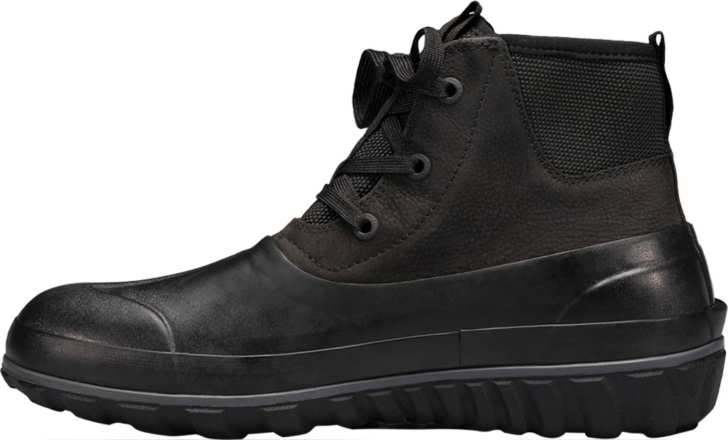 Men's Bogs Classic Casual Lace Waterproof Duck Boot, Black Rubber/Leather, large, image 3