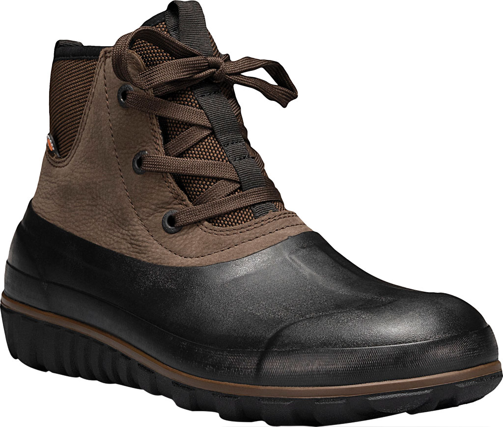 Men's Bogs Classic Casual Lace Waterproof Duck Boot, Dark Brown Rubber/Leather, large, image 1
