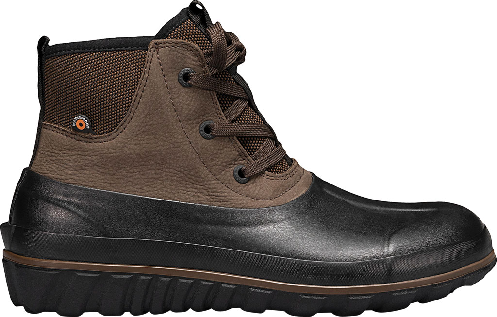 Men's Bogs Classic Casual Lace Waterproof Duck Boot, Dark Brown Rubber/Leather, large, image 2