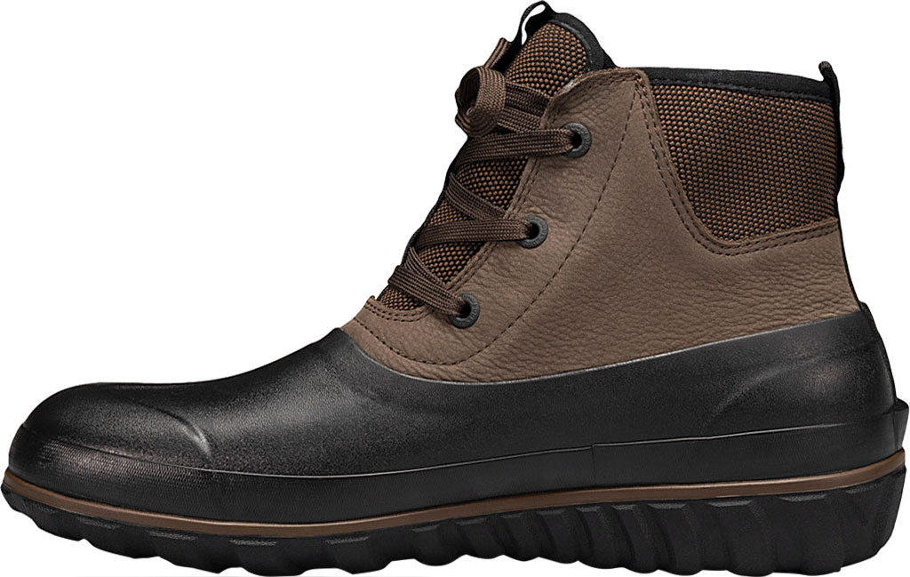 Men's Bogs Classic Casual Lace Waterproof Duck Boot, Dark Brown Rubber/Leather, large, image 3