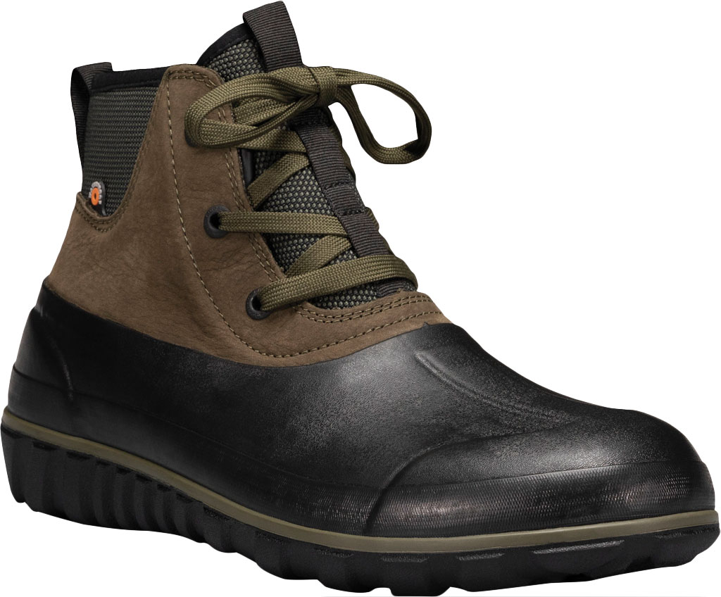 Men's Bogs Classic Casual Lace Waterproof Duck Boot, Dark Green Rubber/Leather, large, image 1