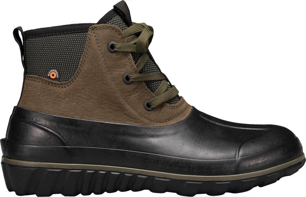 Men's Bogs Classic Casual Lace Waterproof Duck Boot, Dark Green Rubber/Leather, large, image 2