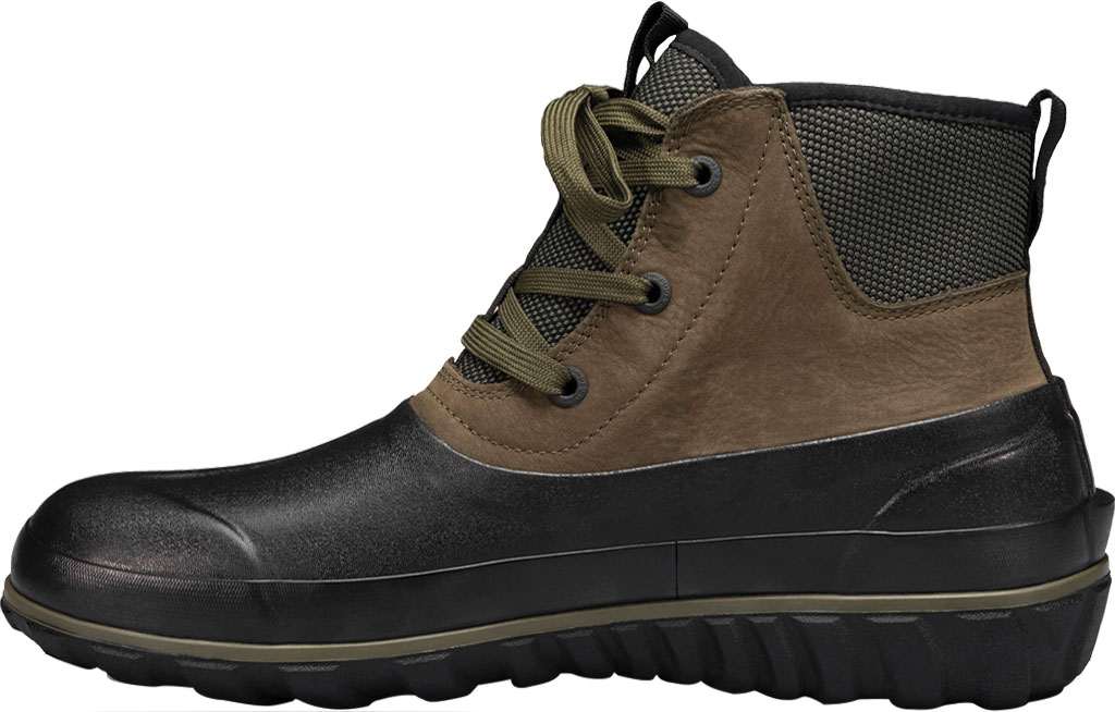 Men's Bogs Classic Casual Lace Waterproof Duck Boot, Dark Green Rubber/Leather, large, image 3