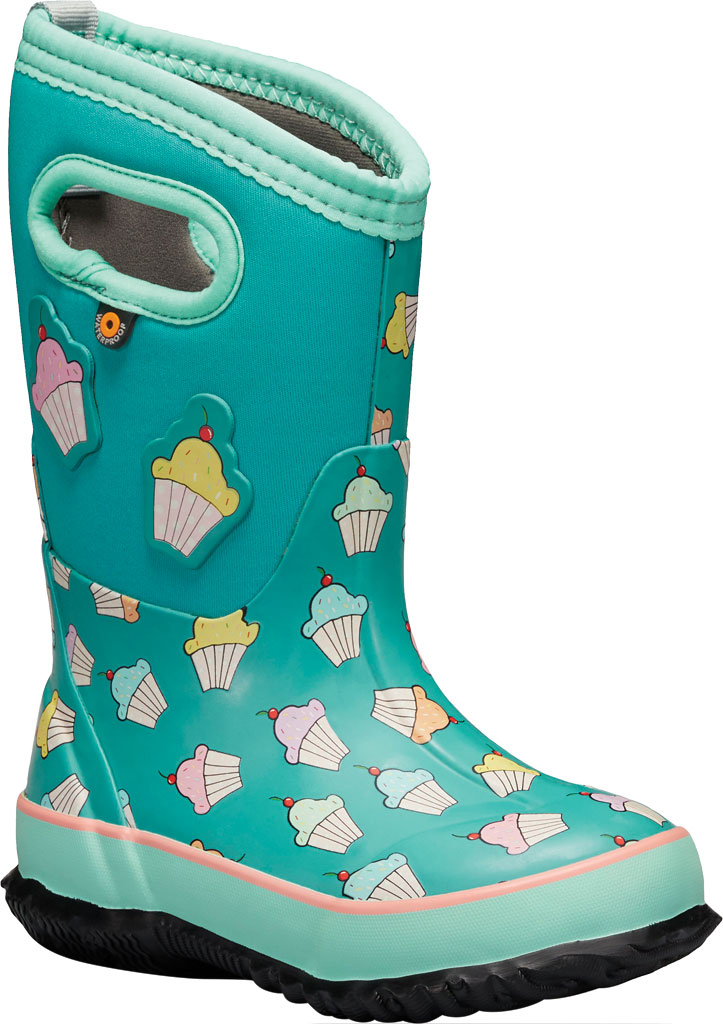Children's Bogs Classic Design A Cupcakes Waterproof Rain Boot, Teal Multi Rubber/Textile, large, image 1