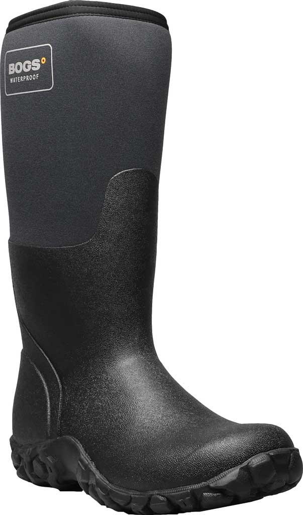 Men's Bogs Mesa Waterproof Rain Boot, Black Rubber/Textile, large, image 1