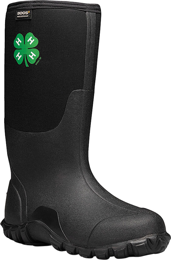 Men's Bogs Classic Tall 4-H Waterproof Rain Boot, Black Rubber/Textile, large, image 1