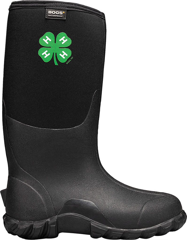 Men's Bogs Classic Tall 4-H Waterproof Rain Boot, Black Rubber/Textile, large, image 2