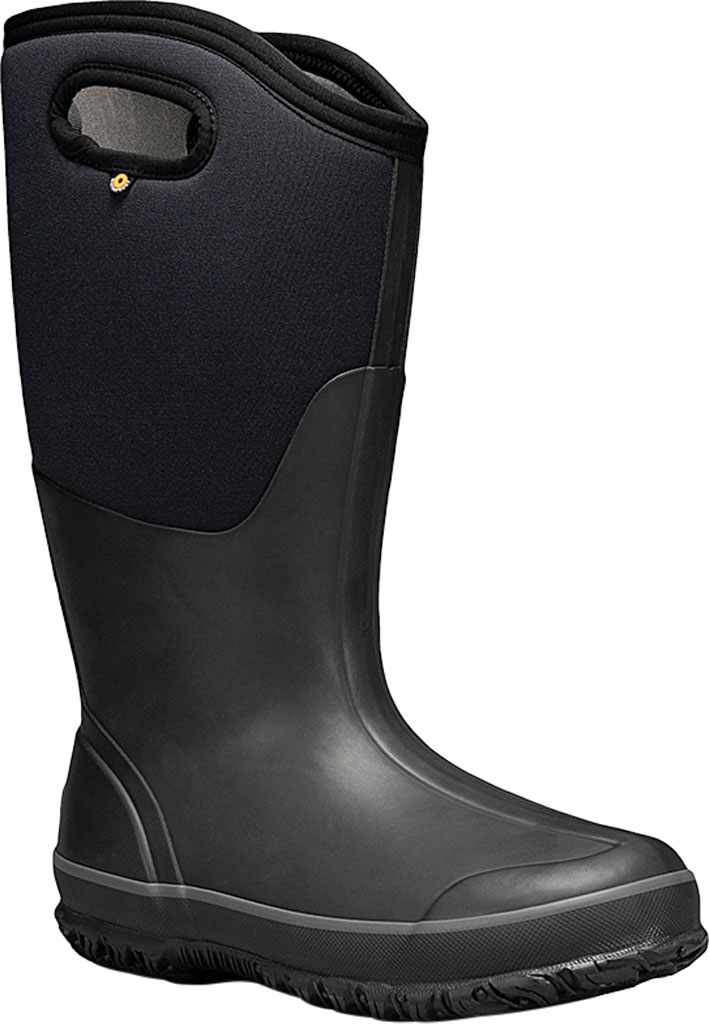 Women's Bogs Classic Tall Wide Calf Waterproof Rain Boot, Black Rubber Textile, large, image 1
