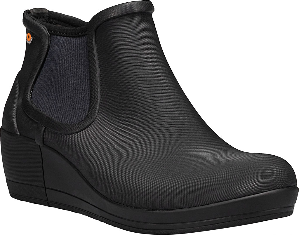 Women's Bogs Vista Wedge Ankle Waterproof Boot, Black Rubber, large, image 1