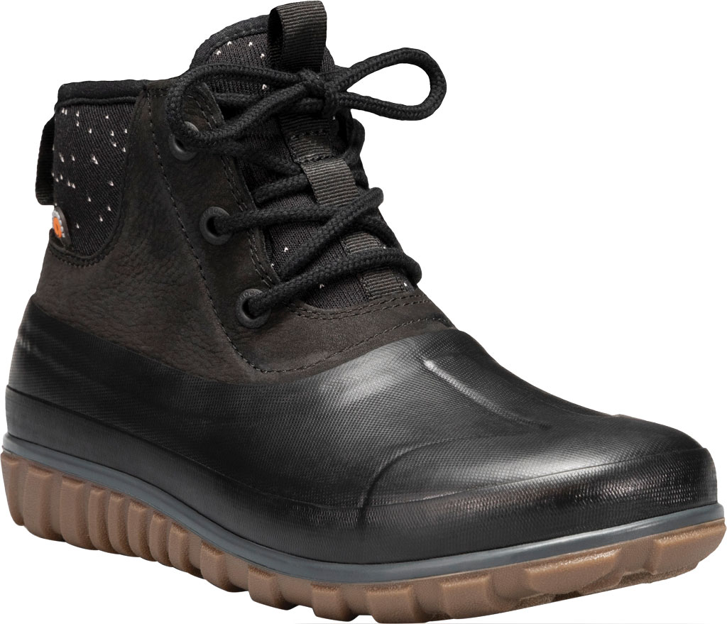 Women's Bogs Classic Casual Lace Waterproof Duck Boot, Black Rubber/Leather, large, image 1