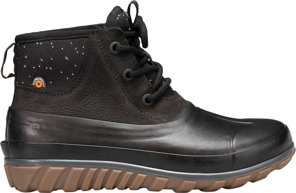 Women's Bogs Classic Casual Lace Waterproof Duck Boot, Black Rubber/Leather, large, image 2